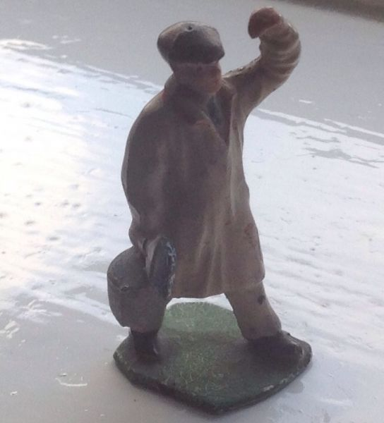 HALL'S DISTEMPER ORIGINAL LEAD PAINTER FIGURE WITH BLUE PAINT POT (2)